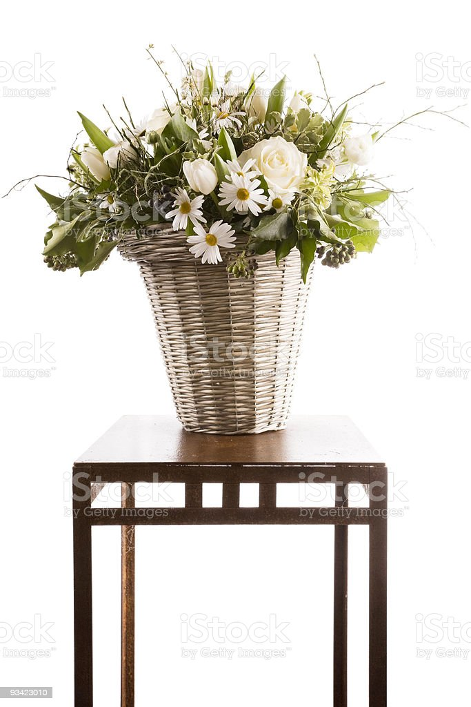 Bouquet of White Flowers on rusty Iron Table royalty-free stock photo