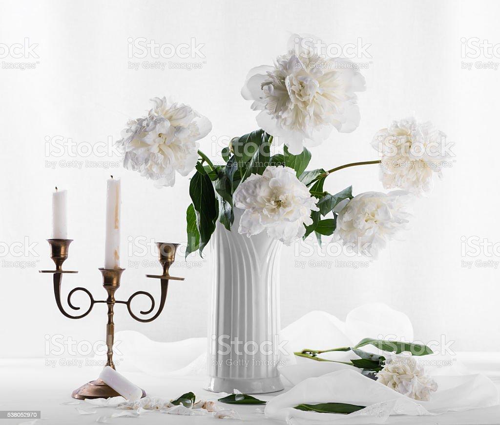 Bouquet of white peonies stock photo