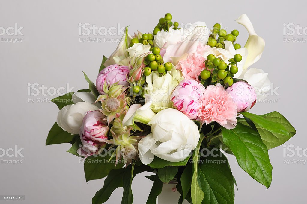 Bouquet of white peonies. stock photo