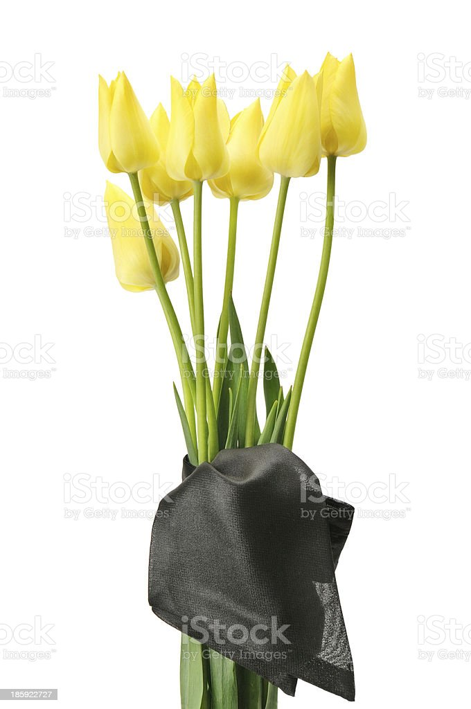 bouquet of yellow flowers for a funeral royalty-free stock photo