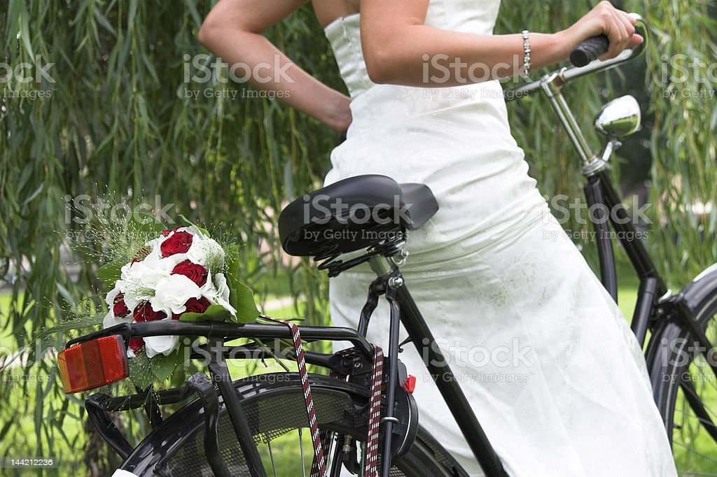 Bouquet on the bike stock photo