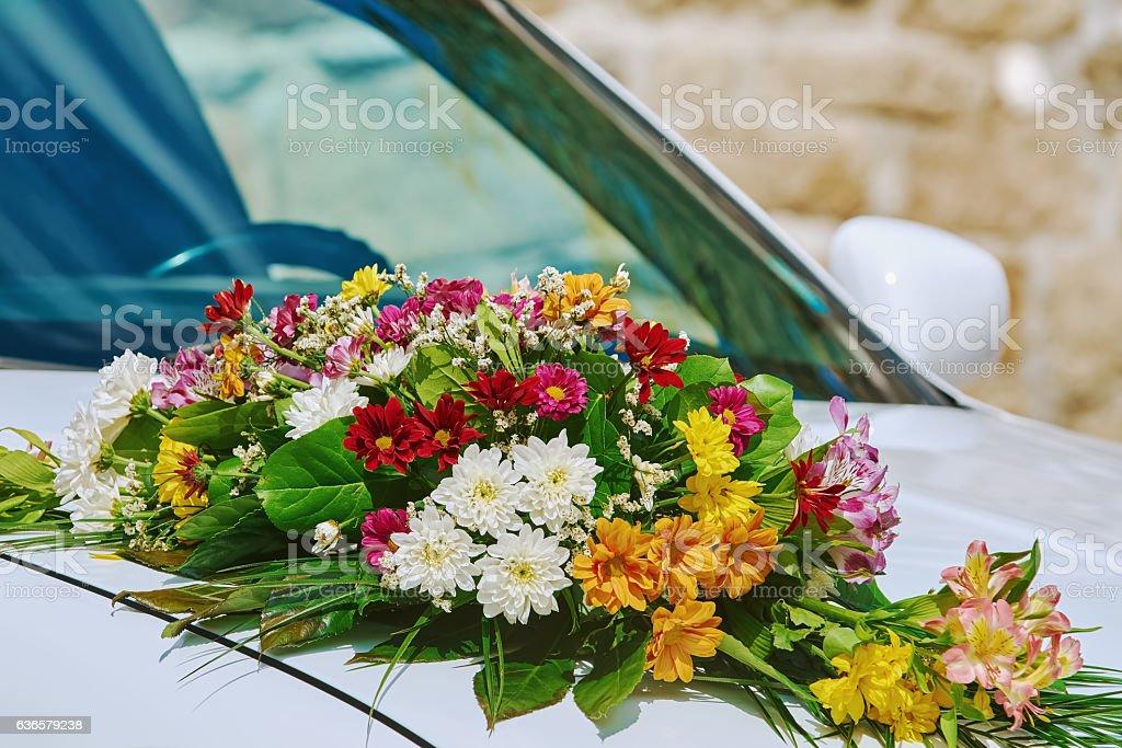 Bouquet on the Car Bonnet stock photo