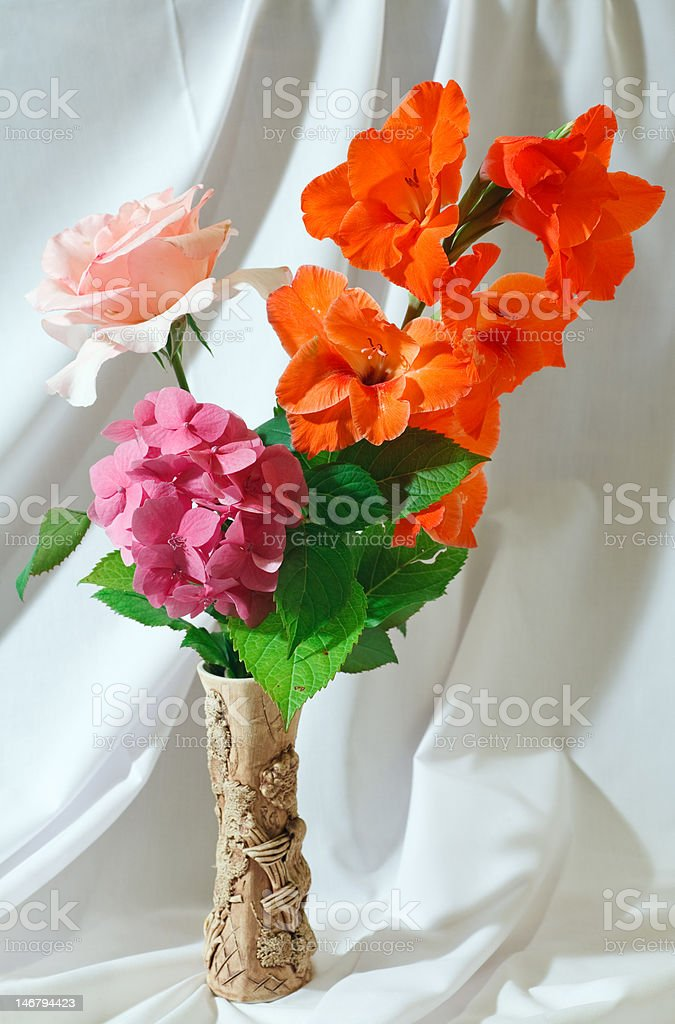 bouquet on white cloth background royalty-free stock photo