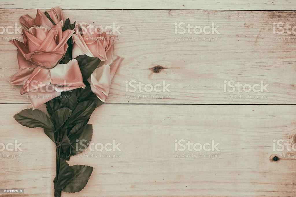 bouquet rose on wood background. stock photo