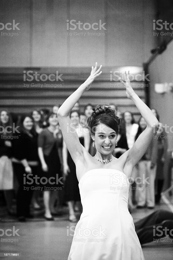 Bouquet Toss Black and White Portrait royalty-free stock photo