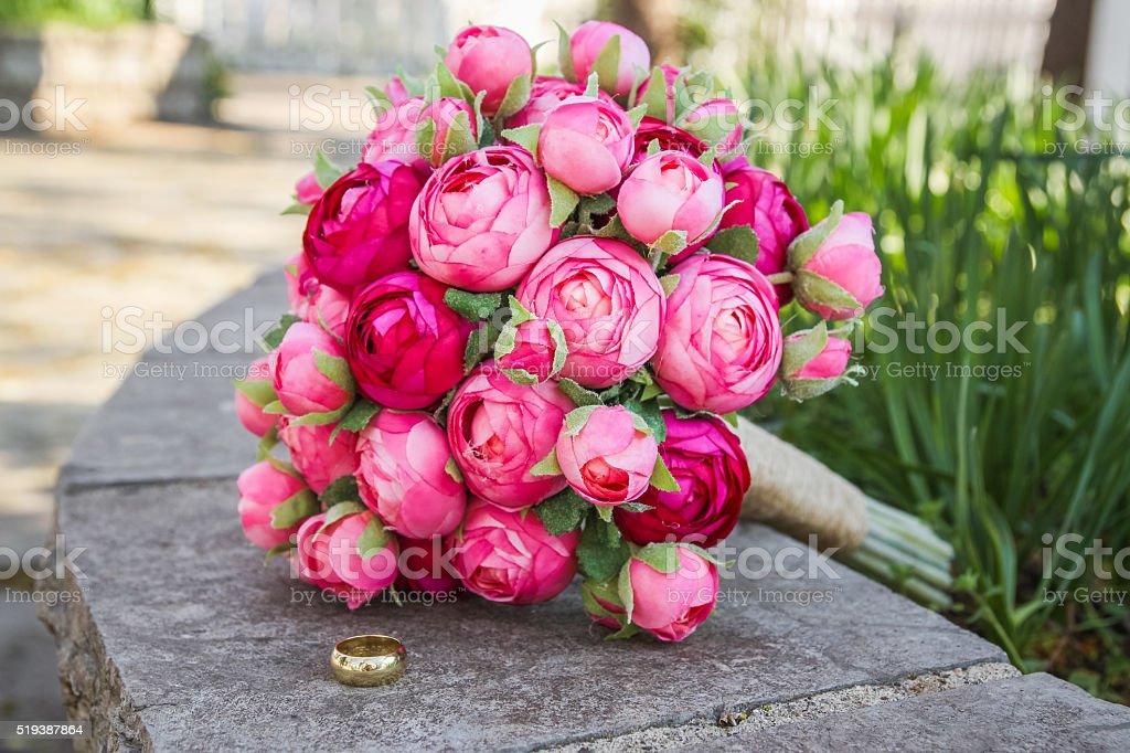 bouquet toss stock photo
