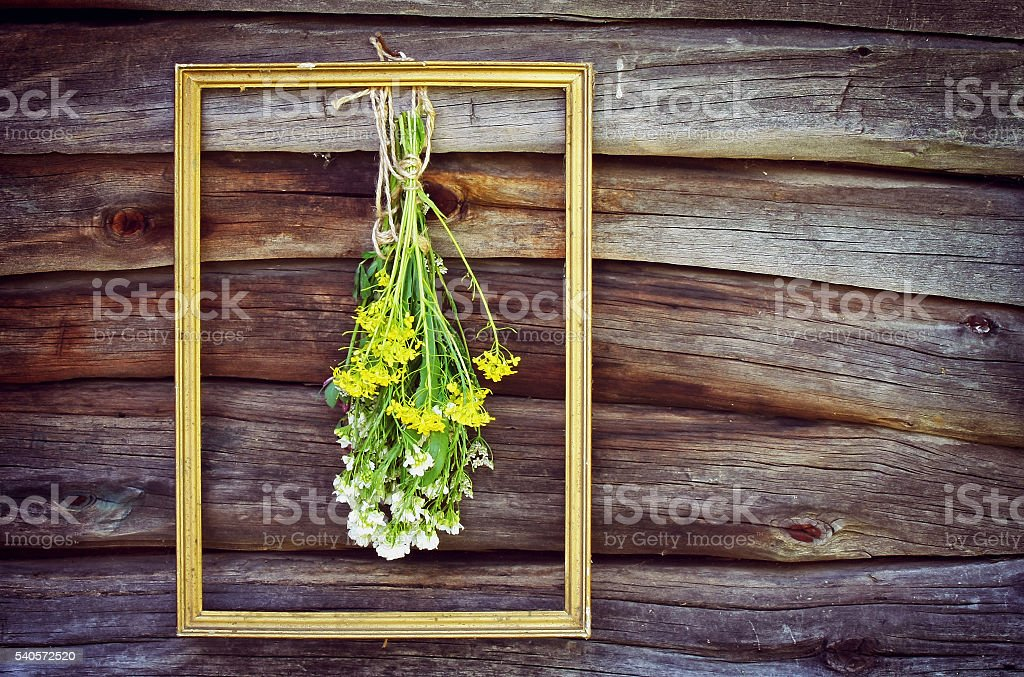 bouquet wild flowers in frame stock photo