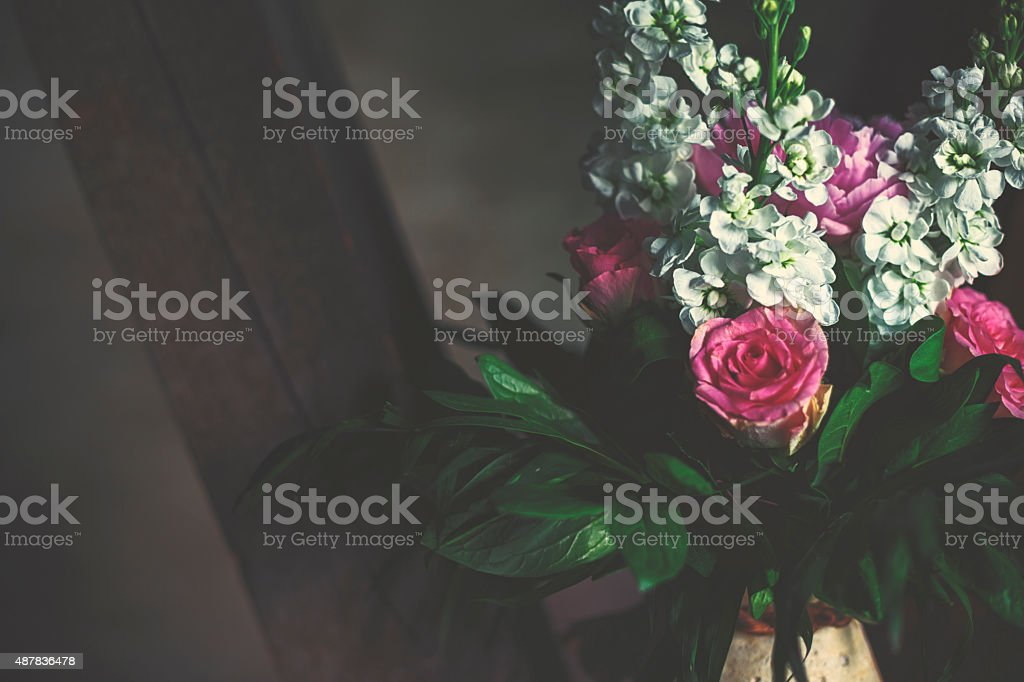 Bouquet with common peony [Paeonia officinalis] stock photo