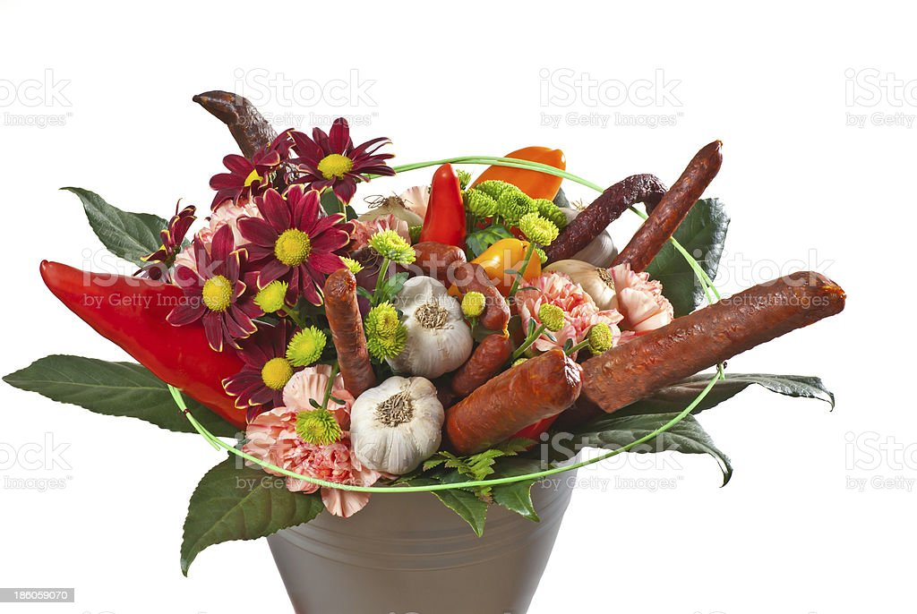 bouquet with flowers and sausages royalty-free stock photo