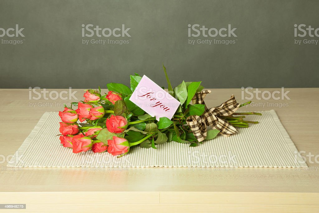 bouquet with for you card stock photo