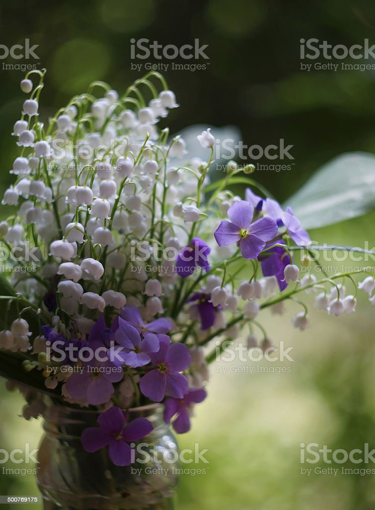 Bouquet with lilies of the valley royalty-free stock photo