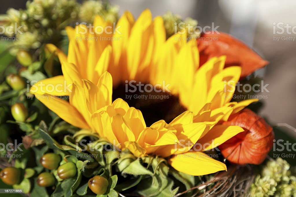 Bouquet with sunflower royalty-free stock photo