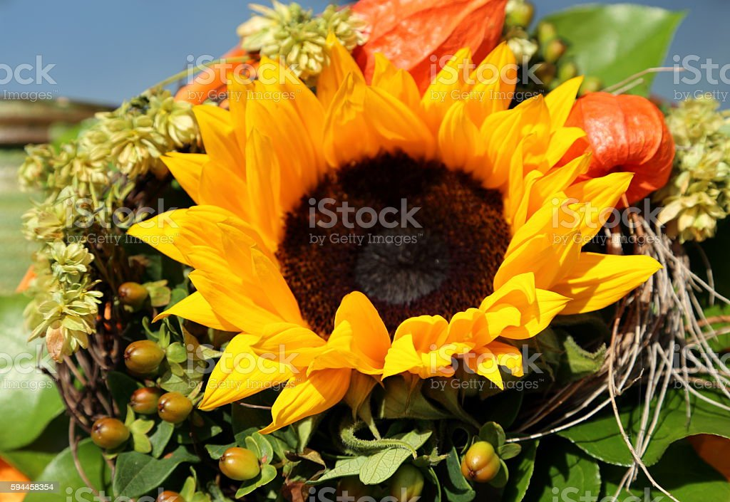 Bouquet with sunflower stock photo