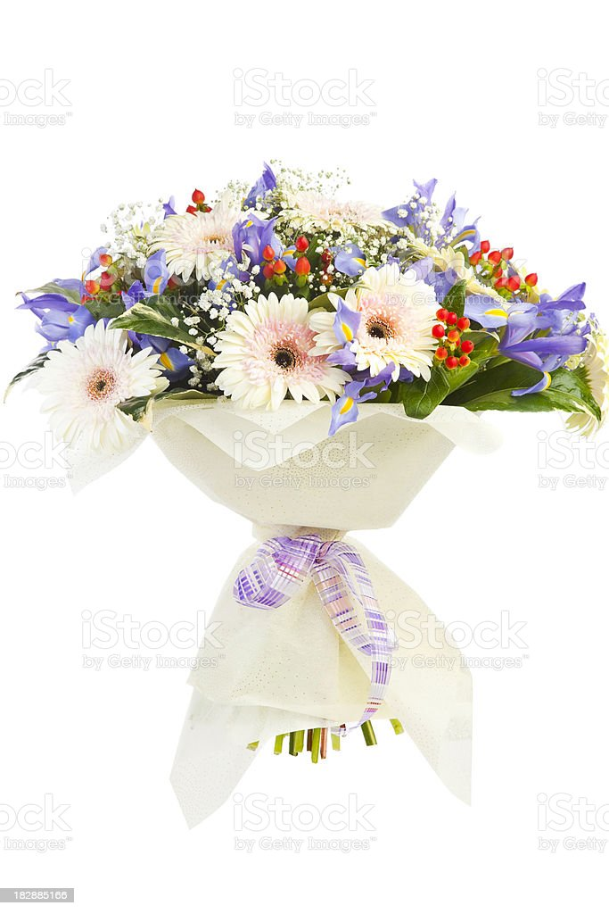 Bouquet with white gerbera, iris and other flowers. royalty-free stock photo