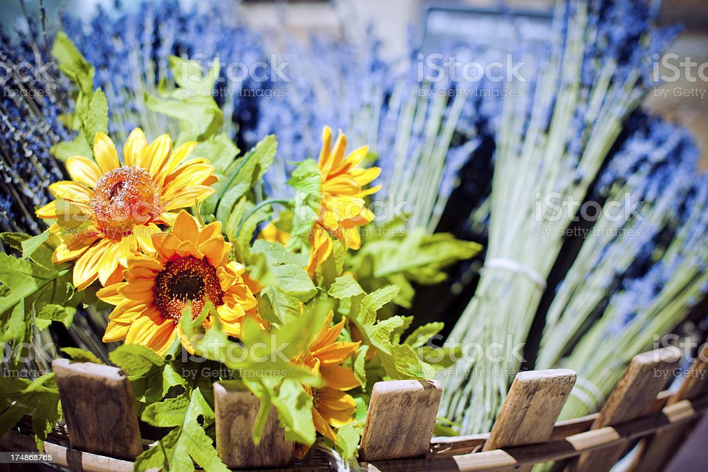 Bouquets of lavander and sunflowers royalty-free stock photo