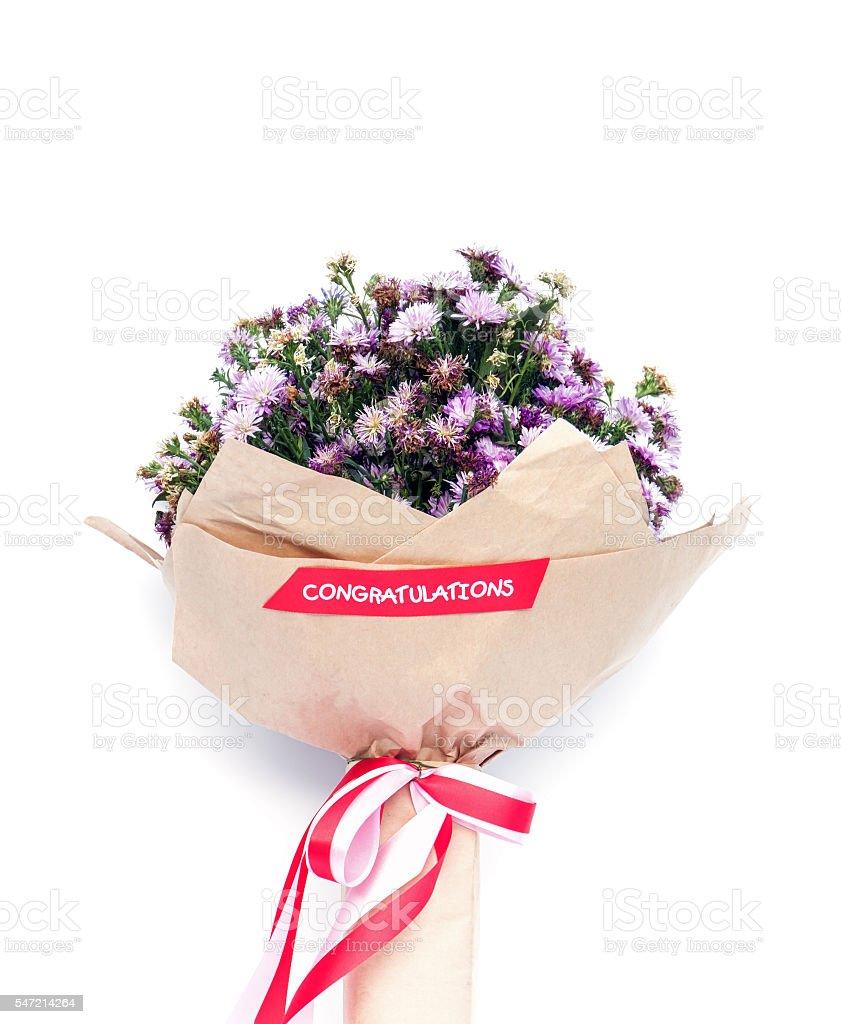Bouquets of purple Michaelmas daisy flowers stock photo