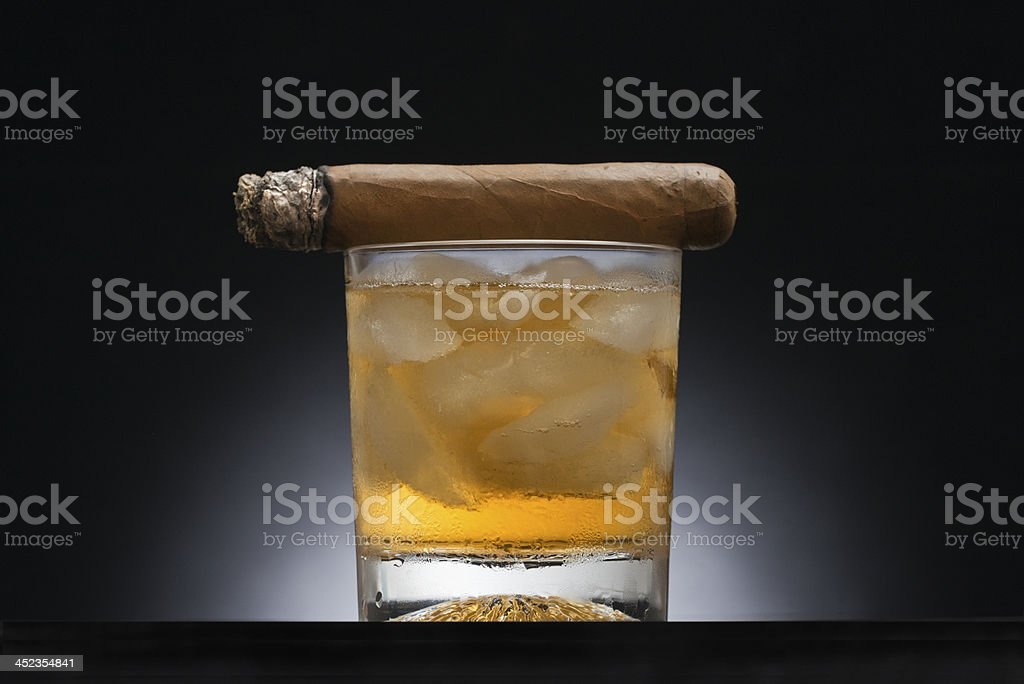 Bourbon and cigar royalty-free stock photo
