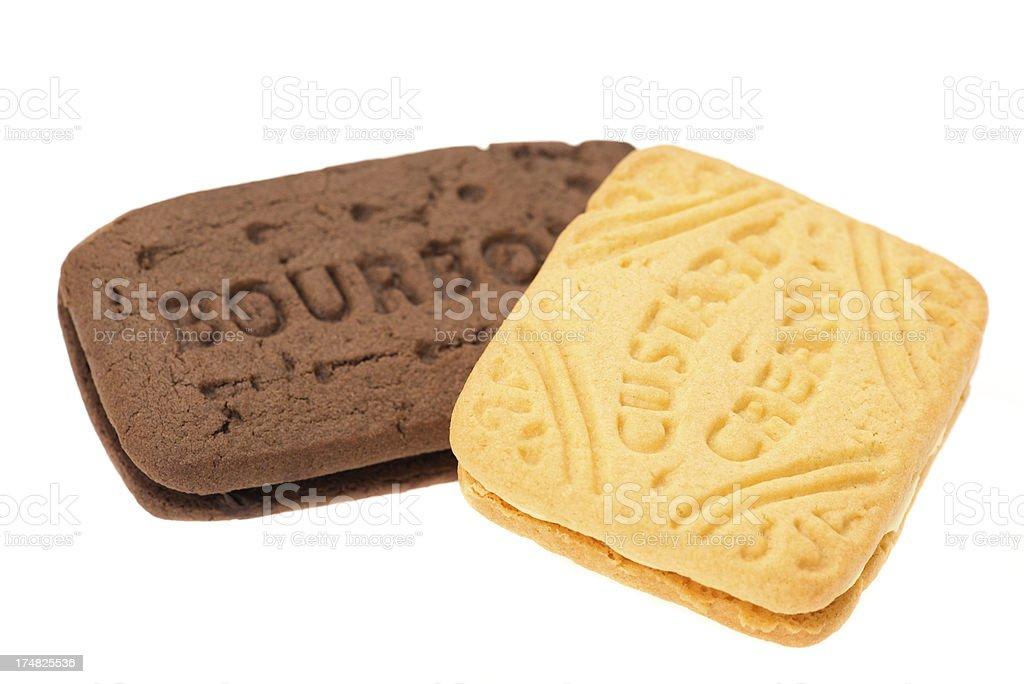 Bourbon and custard cream biscuit stock photo