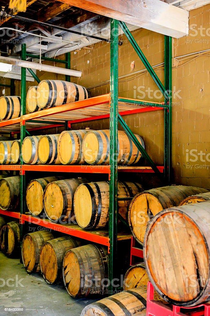 Bourbon Barrels in a Distillery District warehouse in Lexington, KY stock photo
