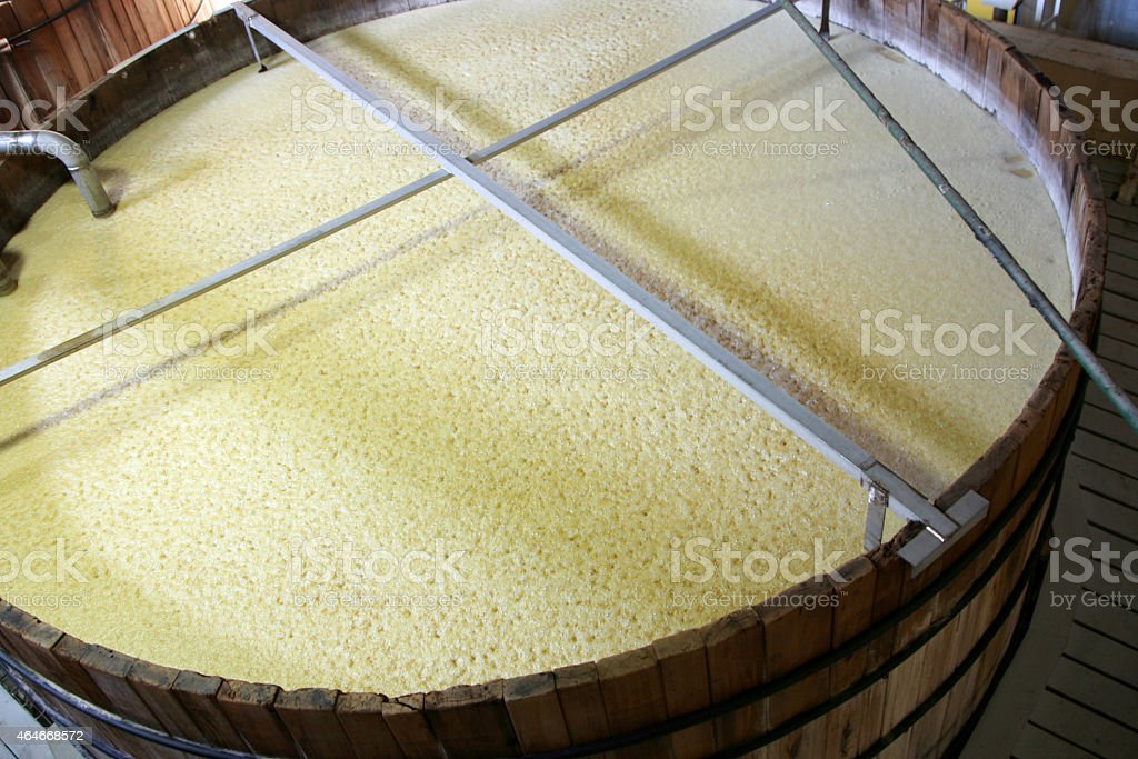 Bourbon, beer or whiskey fermenting tank stock photo