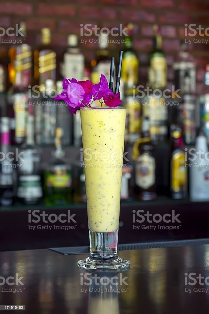 Bourbon cookie cocktail on the classic black bar table royalty-free stock photo
