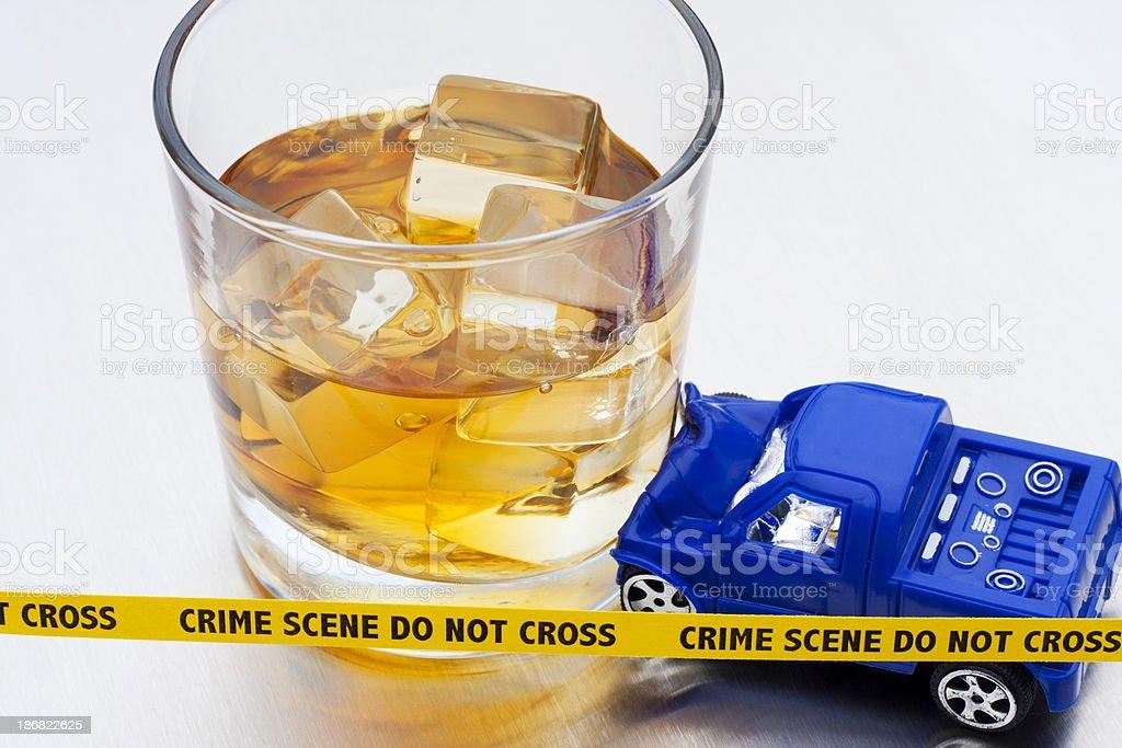 DUI - Bourbon Crash Crime Scene stock photo