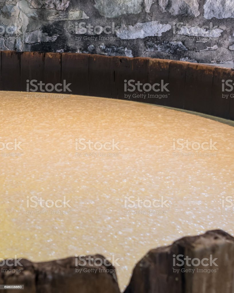 Bourbon Mash Fermenting in Distillery stock photo