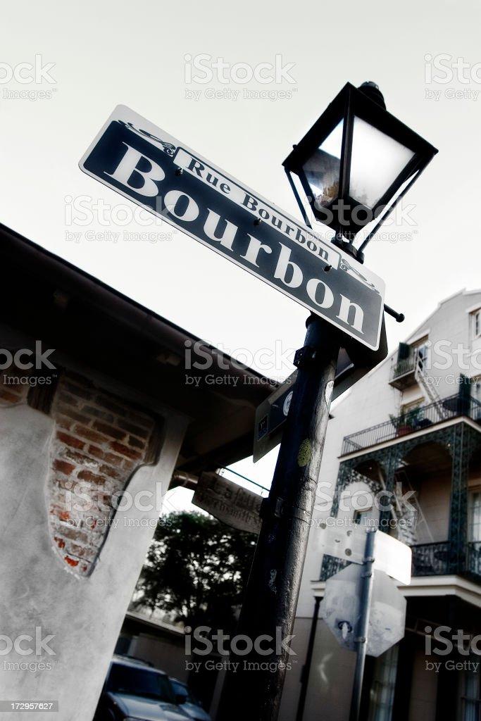 Bourbon St. Sign stock photo