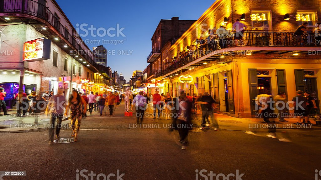 Bourbon Street at Night, The French Quarter of New Orleans stock photo