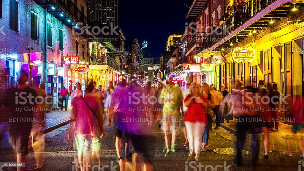 Bourbon Street at Night The French Quarter of New Orleans stock photo