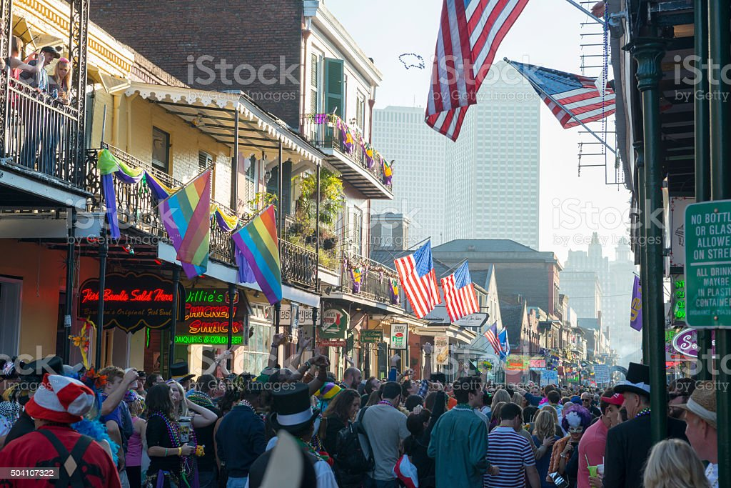 Bourbon Street crowd during Mardi Gras stock photo