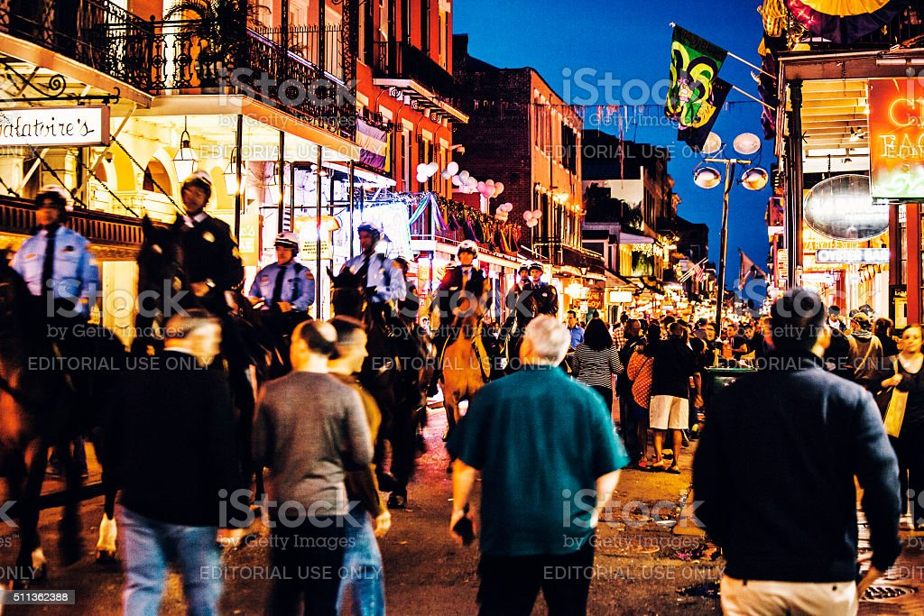 Bourbon Street crowd - Mardi Gras in New Orleans. stock photo