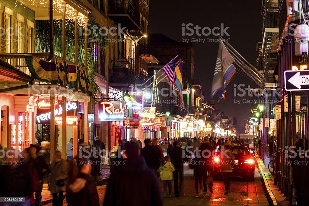 Bourbon Street Crowd, New Orleans stock photo