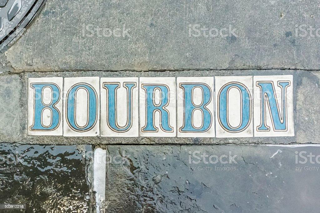 Bourbon Street in the Sidewalk stock photo