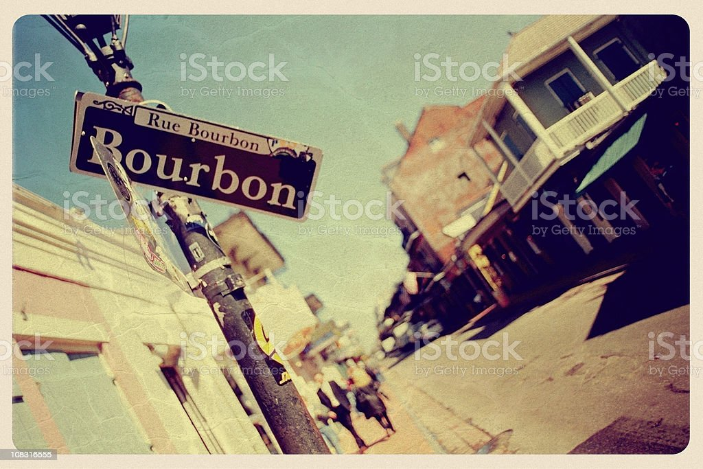 Bourbon Street, New Orleans - Vintage Postcard royalty-free stock photo