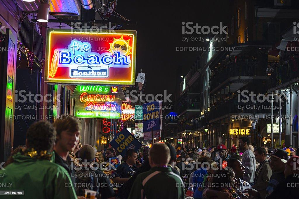 Bourbon Street nightlife and Mardi Gras 2013 royalty-free stock photo