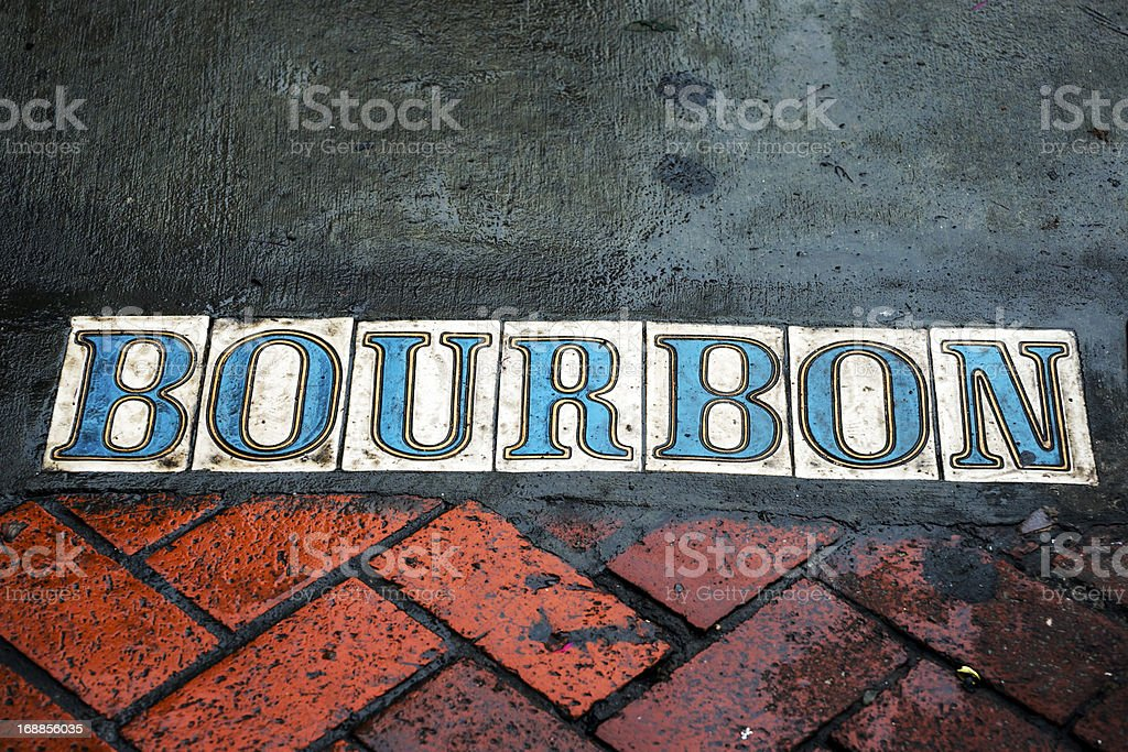 Bourbon street on sidewalk in French Quarter stock photo
