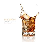 Bourbon Whiskey Splash Isolated on White Background