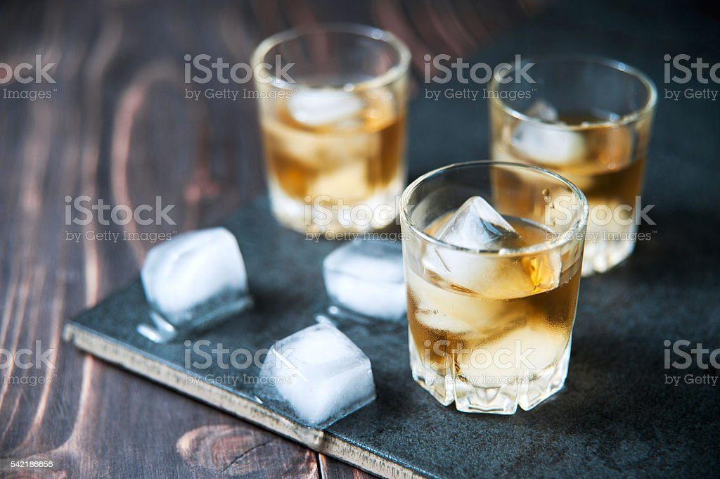 Bourbon Whiskey with a Sphere Ice Cube Ready to Drink stock photo