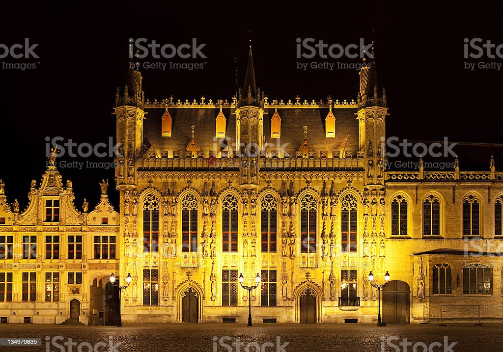 Bourg square at night, Bruges. Belgium royalty-free stock photo