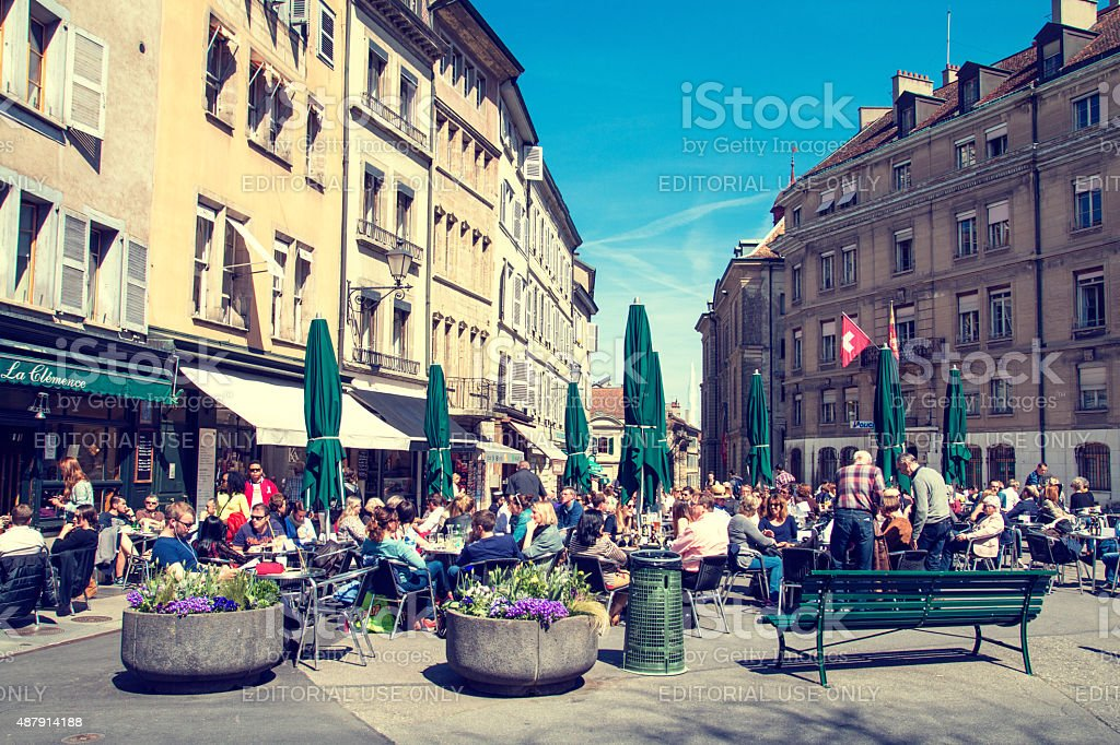 Bourg-de-Four Square in Geneva, Switzerland stock photo