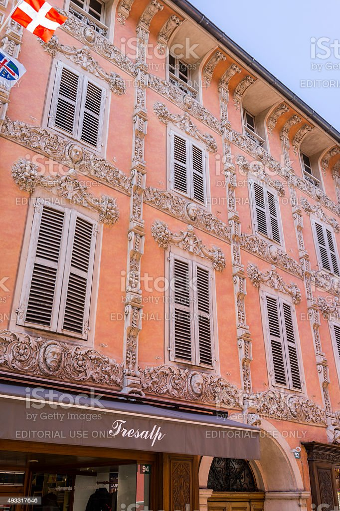 Bourg-Saint-Maurice, France. Stately home in the old town stock photo