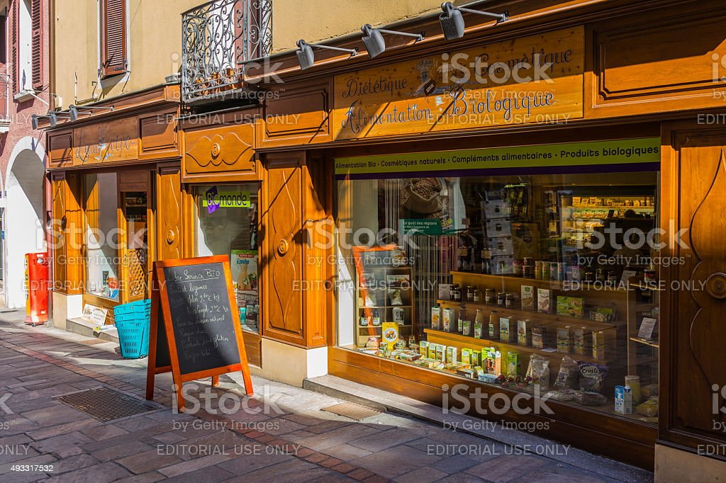 Bourg-Saint-Maurice, France. Traditional store selling natural and organic food stock photo