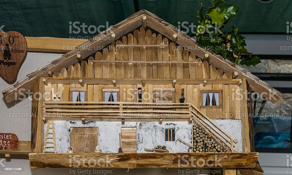 Bourg-Saint-Maurice (France). Scale model house exposed during a craft fair stock photo