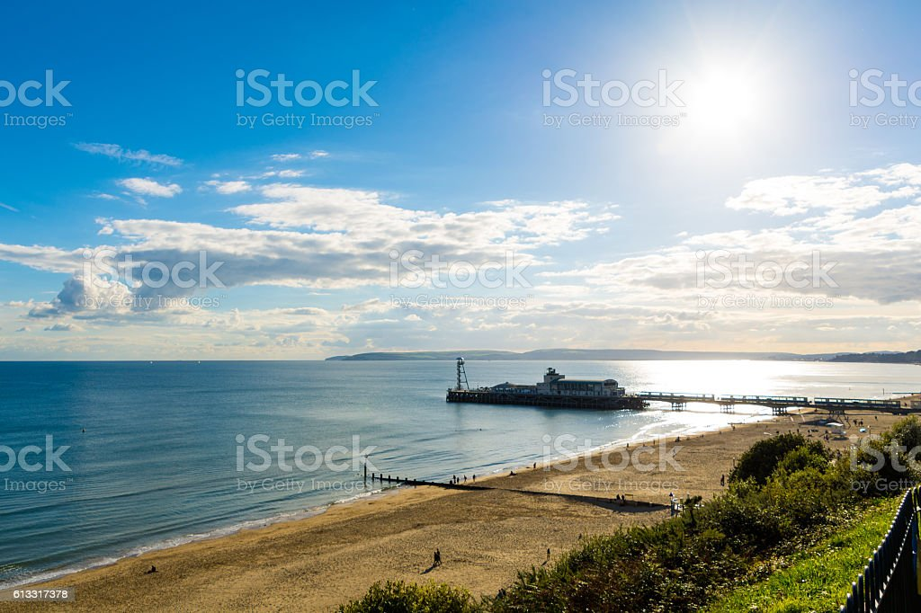 Bournemouth Beach and Pier - East Cliff stock photo