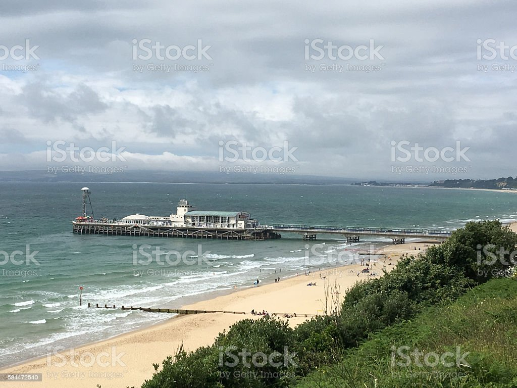 Bournemouth pier and coastline stock photo