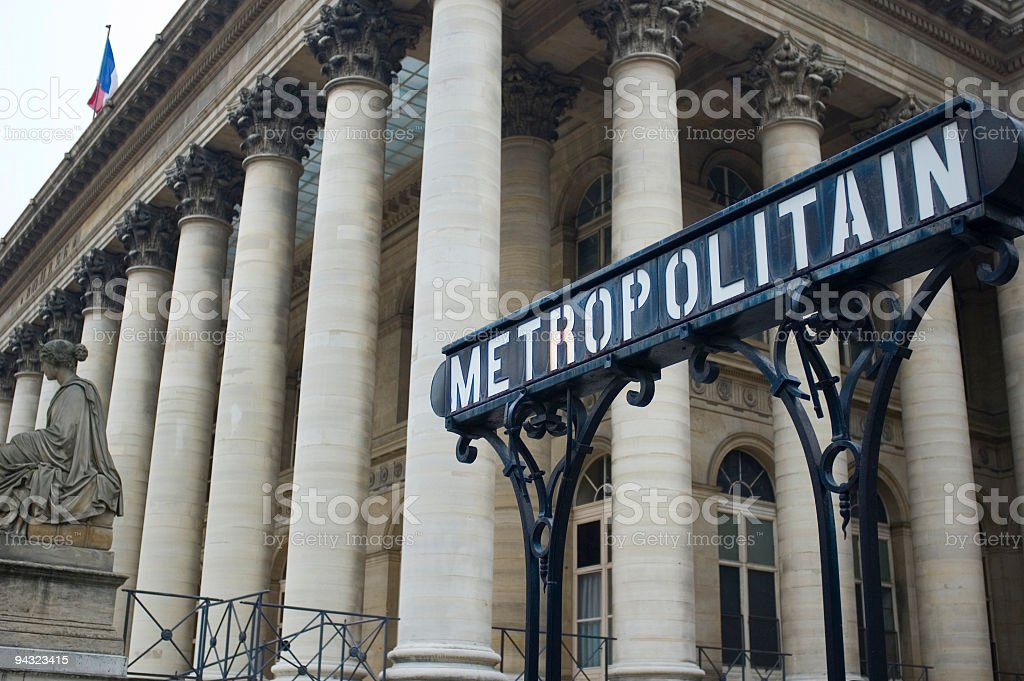 Bourse, Paris Stock Exchange, and metro sign royalty-free stock photo