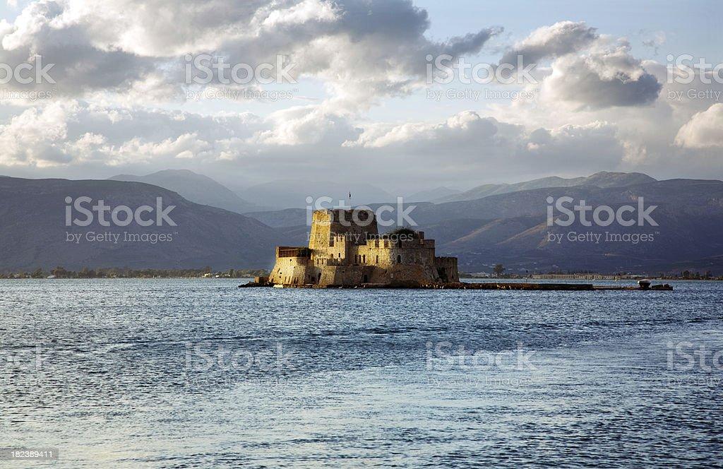 Bourtzi island fortress stock photo