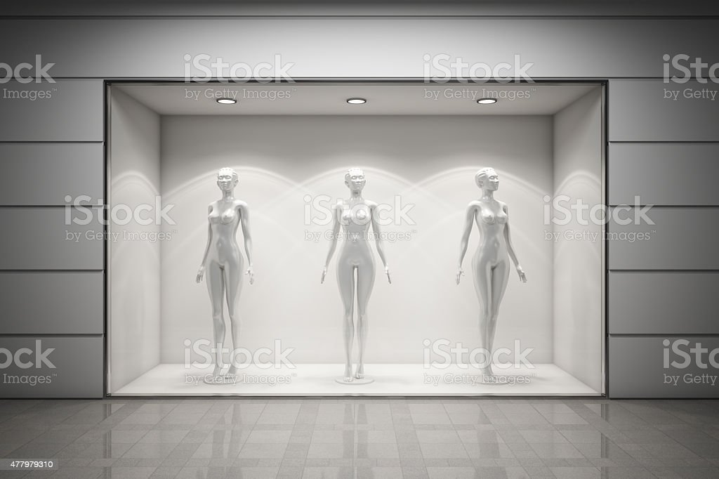 Boutique display window stock photo