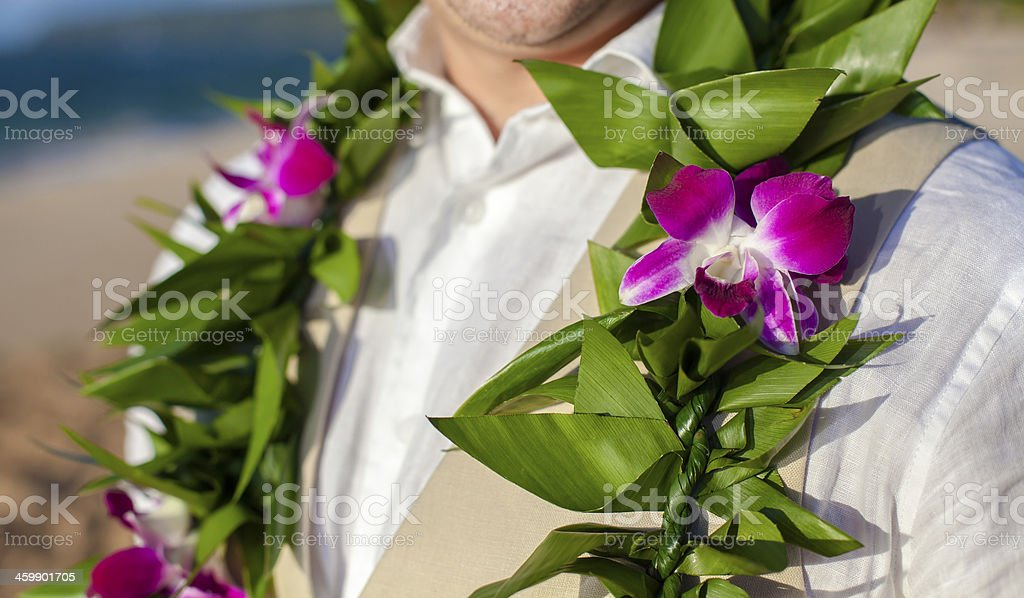 Boutonniere and lei stock photo